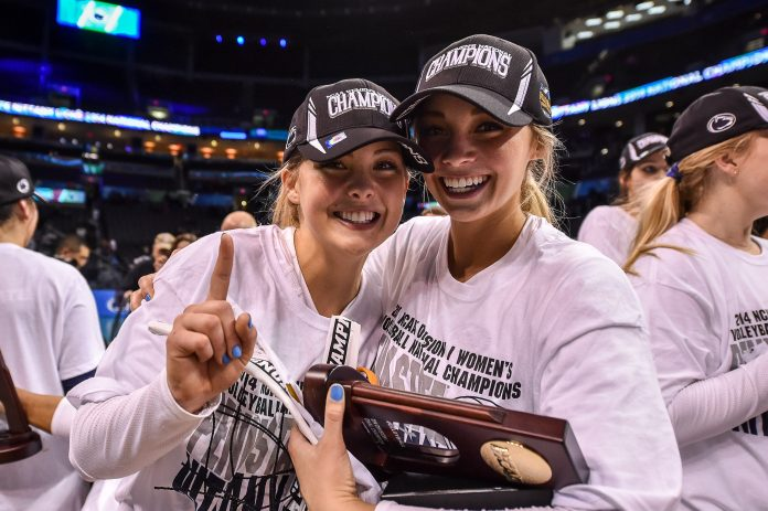 e3ea16833b150 Kendall and Lainy Pierce after Penn State won the 2014 NCAA title Mark  Selders